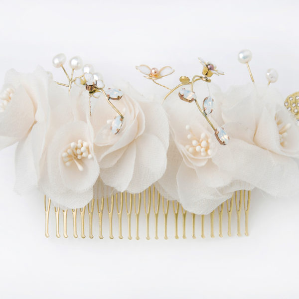 Peigne Rosa Gallica Les Majestés Bijoux de tête Mariage
