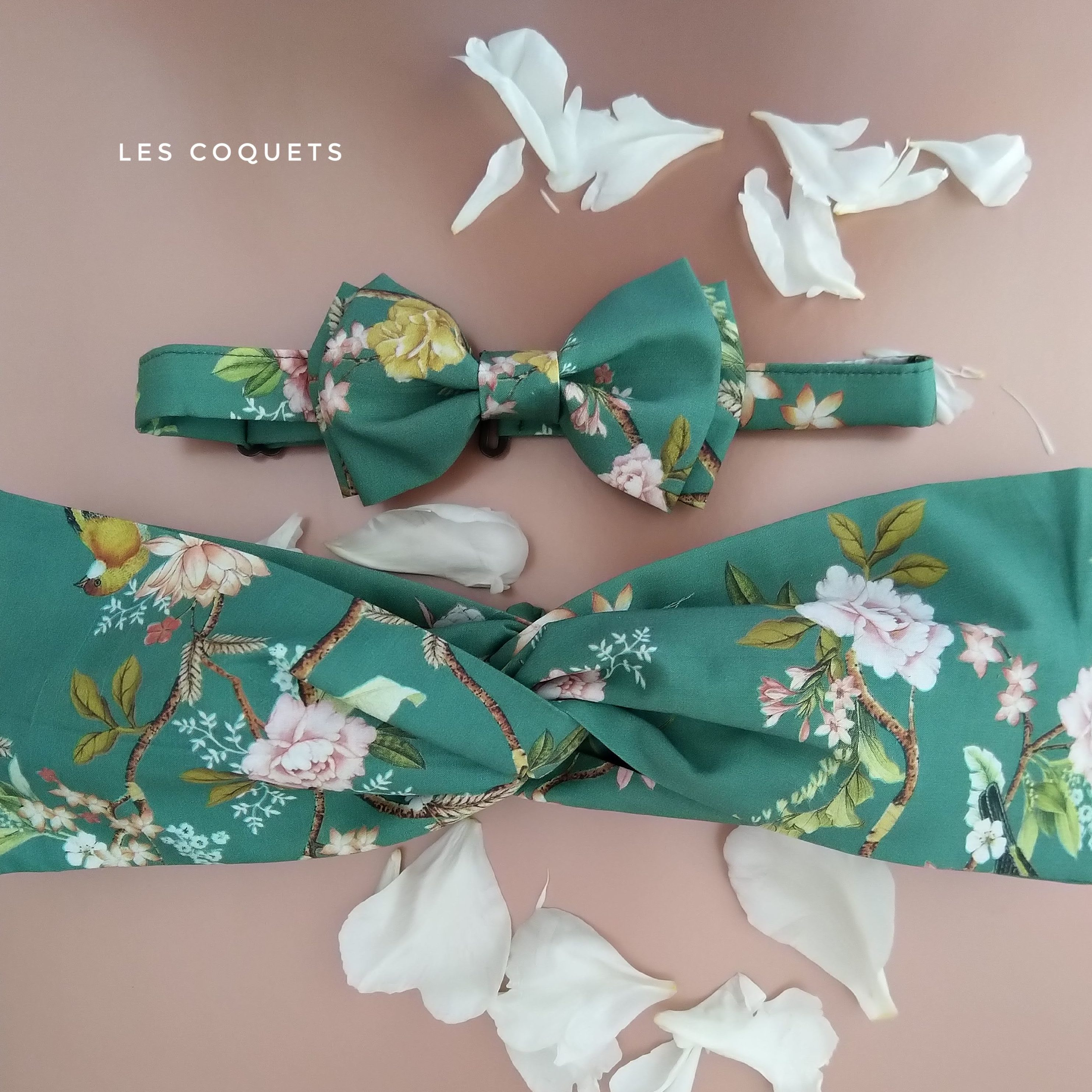Headband Noeud papillon sur mesure liberty L'Otarie Club Coffret Mariage