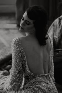 robe celine elise Martimort robe haute couture robe de mariee paillettes sur mesure creatrice de robe de mariee sur mesure