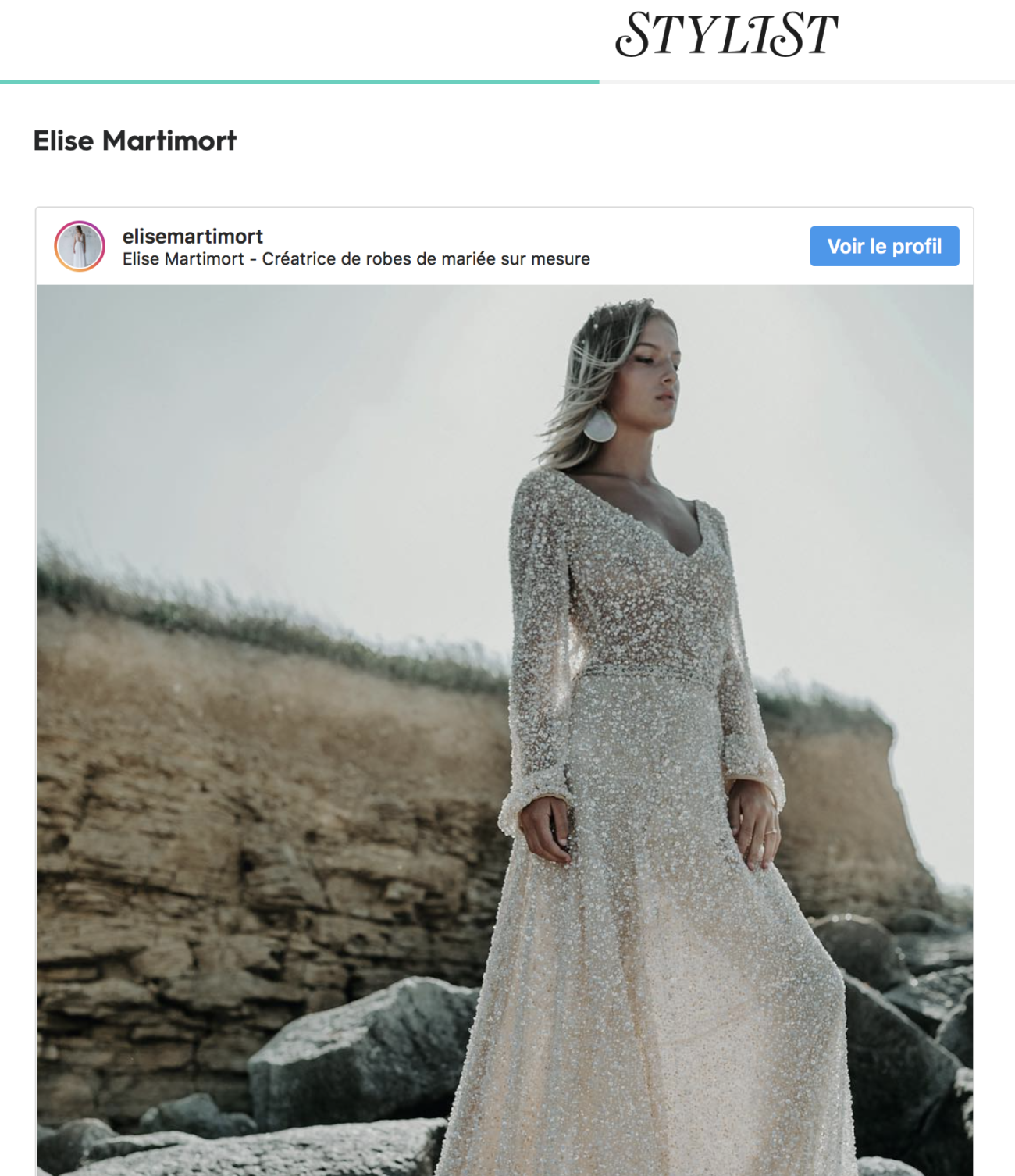 article stylist magazine presse feminine anglaise creatrice de robe de mariee sur mesure France elise Martimort
