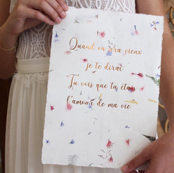 affiche florale- papier fleuri citation d'amour elise Martimort ex anima