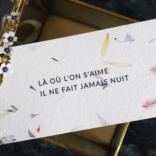 carte de voeux - papier fleuri citation d'amour elise Martimort ex anima