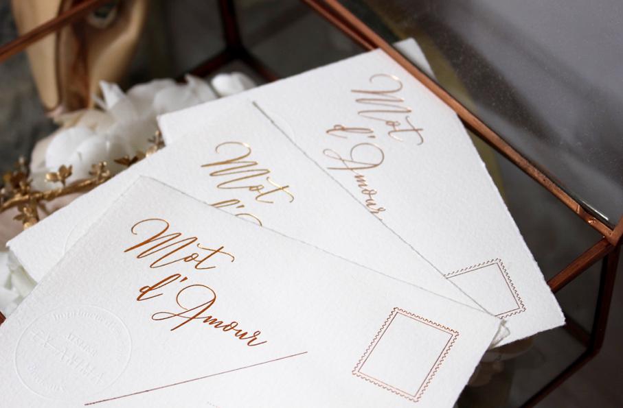 carte de voeux - mot d'amour papeterie mariage dorure à l'or fin