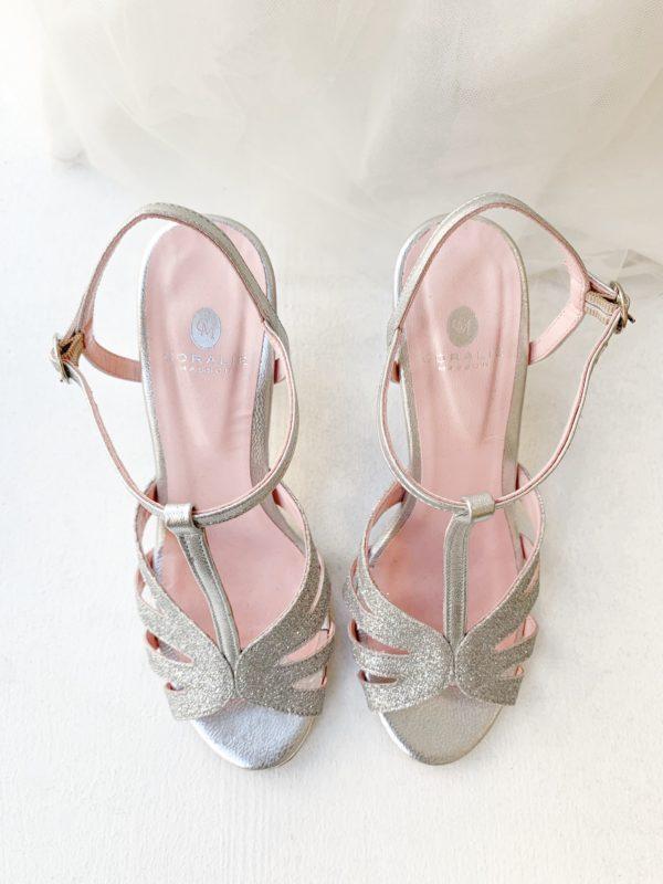 Coralie masson elise Martimort chaussure de mariee argentee silver glitter
