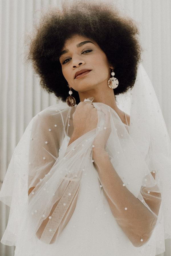 Voile de mariee sur mesure Lea perles glamour long