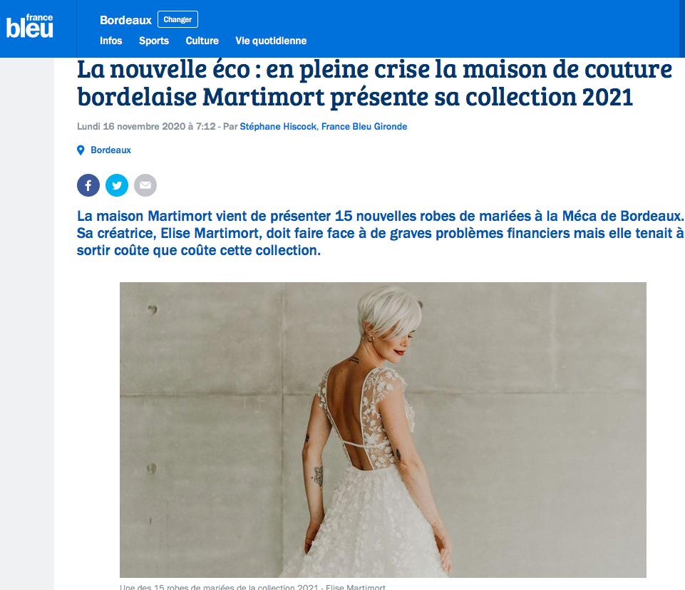 interview france bleu radio elise martimort nouvelle collection 2021 falling in love robes de mariees sur mesure créatrice