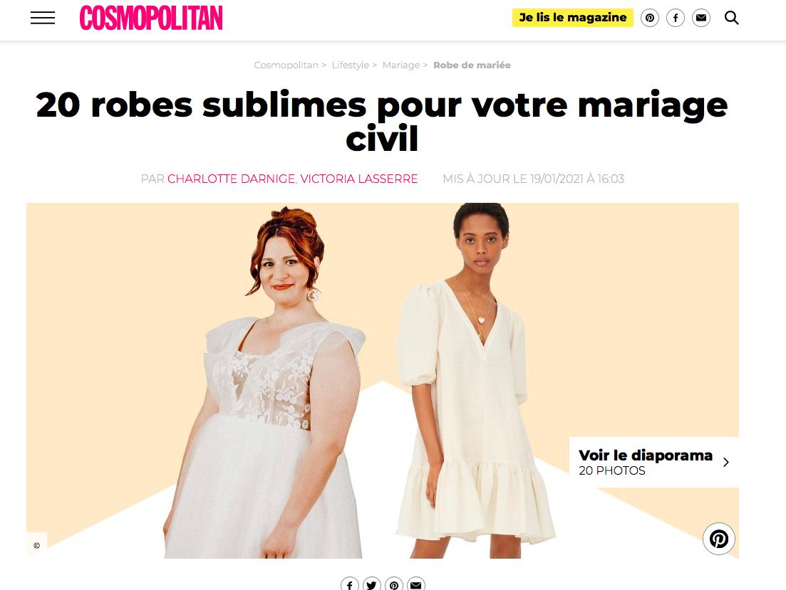 """Merci au magazine """"Cosmopolitain"""" d'avoir mis en avant une robe de notre collection robe de mariée civile !"""
