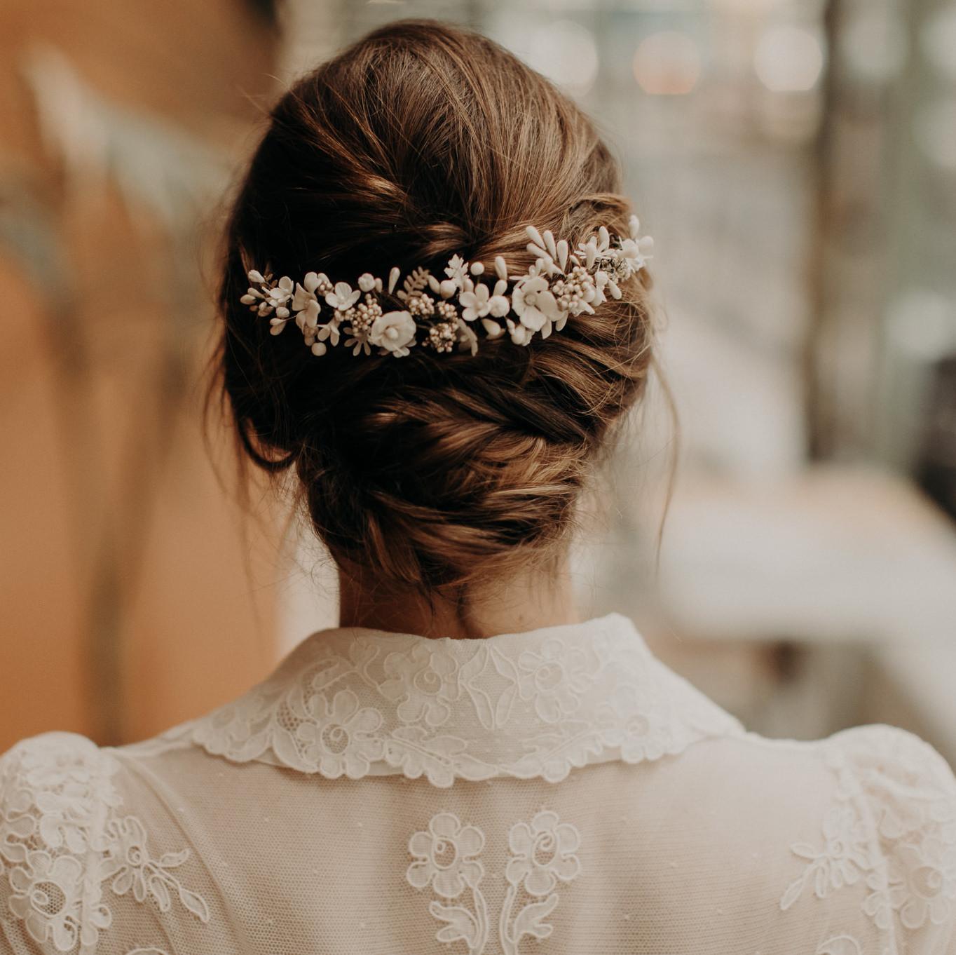 Accessoire cheveux mariee Lizeron Elise Martimort