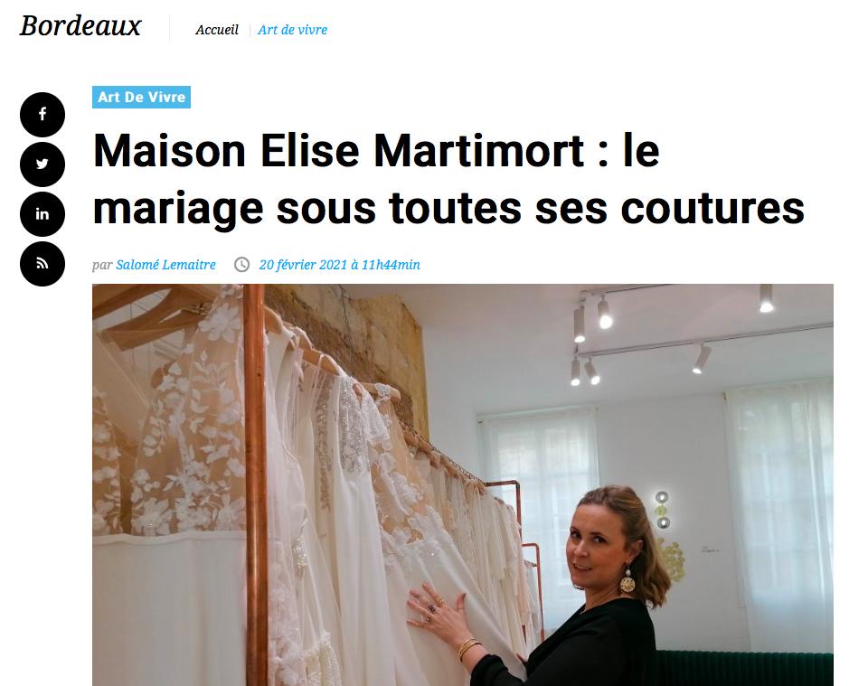 actualité sur la boutique de robes de mariée à bordeaux Elise Martimort