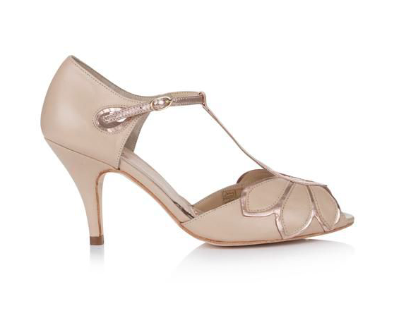 Rachel Simpson chaussures de mariee mimosa rose gold nude leather chaussures mariage Elise Martimort