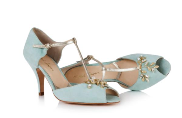 Rachel Simpson chaussures de mariee amalia mint suede chaussures mariage Elise Martimort