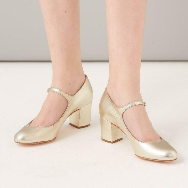 Rachel Simpson chaussures de mariee chaussures mariage chloe gold leather Elise Martimort
