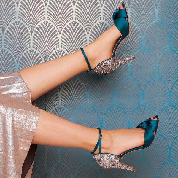 Rachel Simpson chaussures de mariee skyla green satin glitter chaussures mariage Elise Martimort