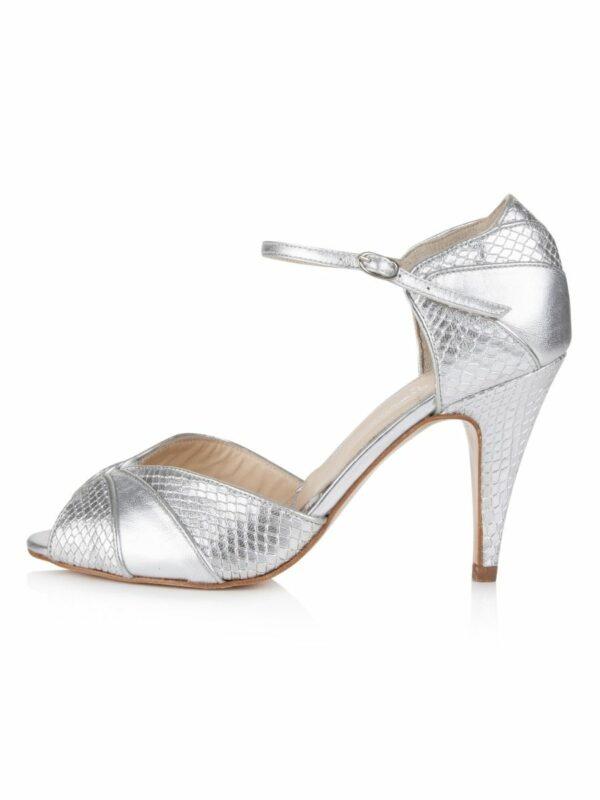 Rachel Simpson chaussures de mariee gigi silver snake leather chaussures mariage Elise Martimort