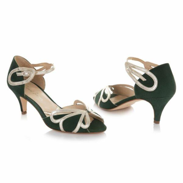 Rachel Simpson chaussures de mariee cecelia forest green chaussures mariage Elise Martimort