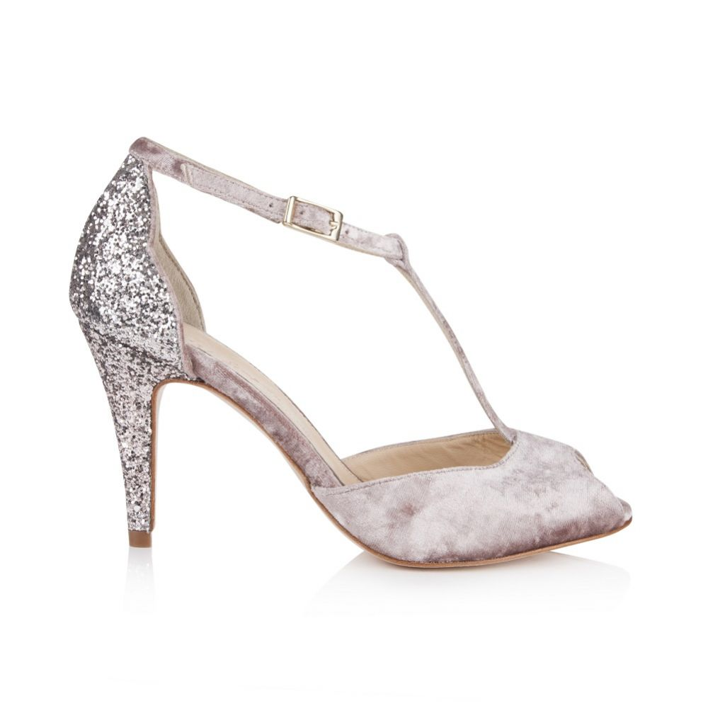 Rachel Simpson chaussures de mariee olivia soft mauve velvet glitter chaussures mariage Elise Martimort