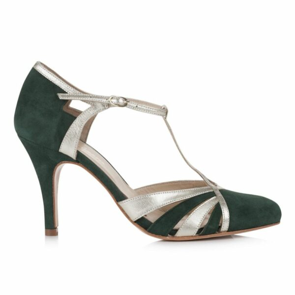 Rachel Simpson chaussures de mariee paloma forest green suede chaussures mariage Elise Martimort