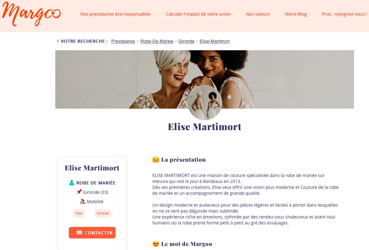 Elise Martimort referencee dans l'annuaire Margoo - mariage éco responsable prestataires bordeaux