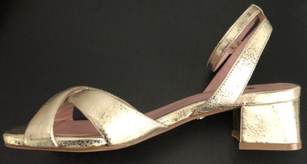 sandales cruella cuir doré gros talon coralie masson elise martimort e shop