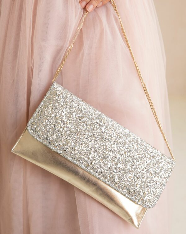 Pochette Rachel Simpson Skye paillettes glitter mariage mariee Elise Martimort