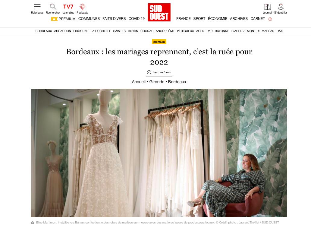 Parution Journal Sud Ouest Elise Martimort mariages