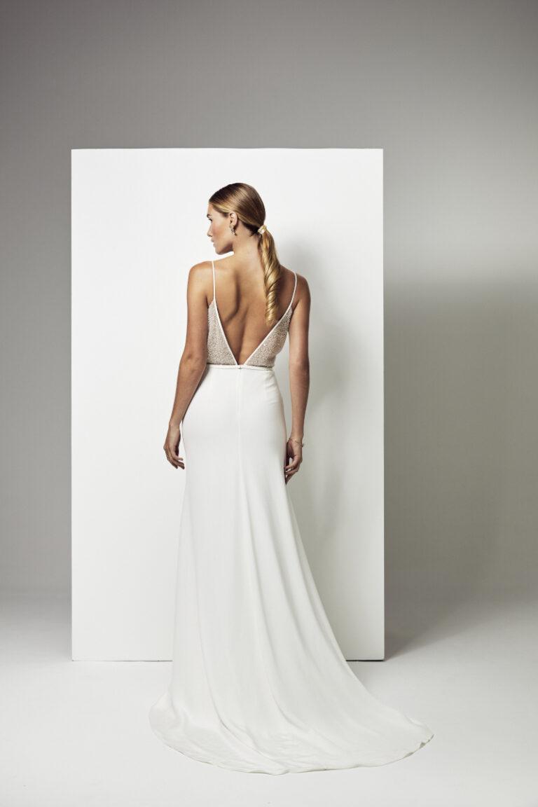 robe de mariée haut pailleté en sequins