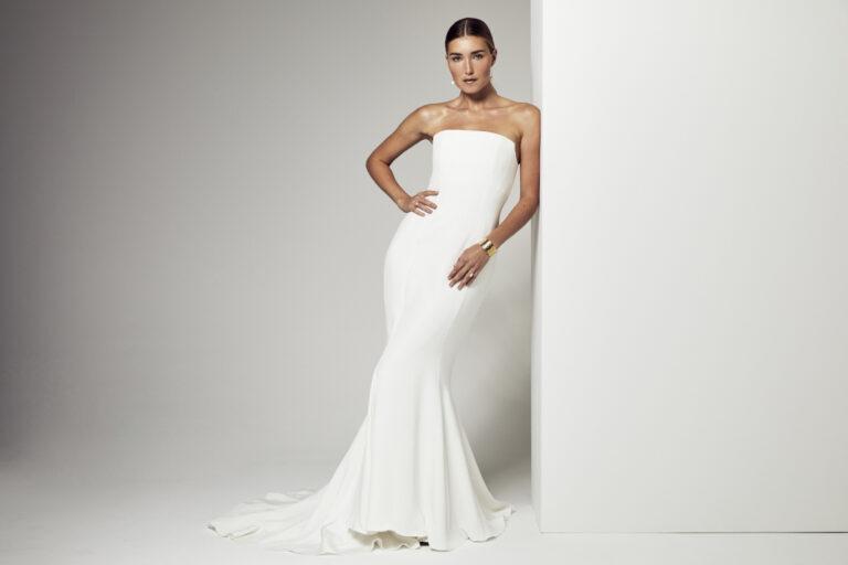 robe de mariée sirène en soie avec un bustier
